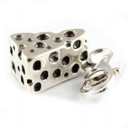Cheese Wedge Sterling Silver Clip On Charm - With Clasp